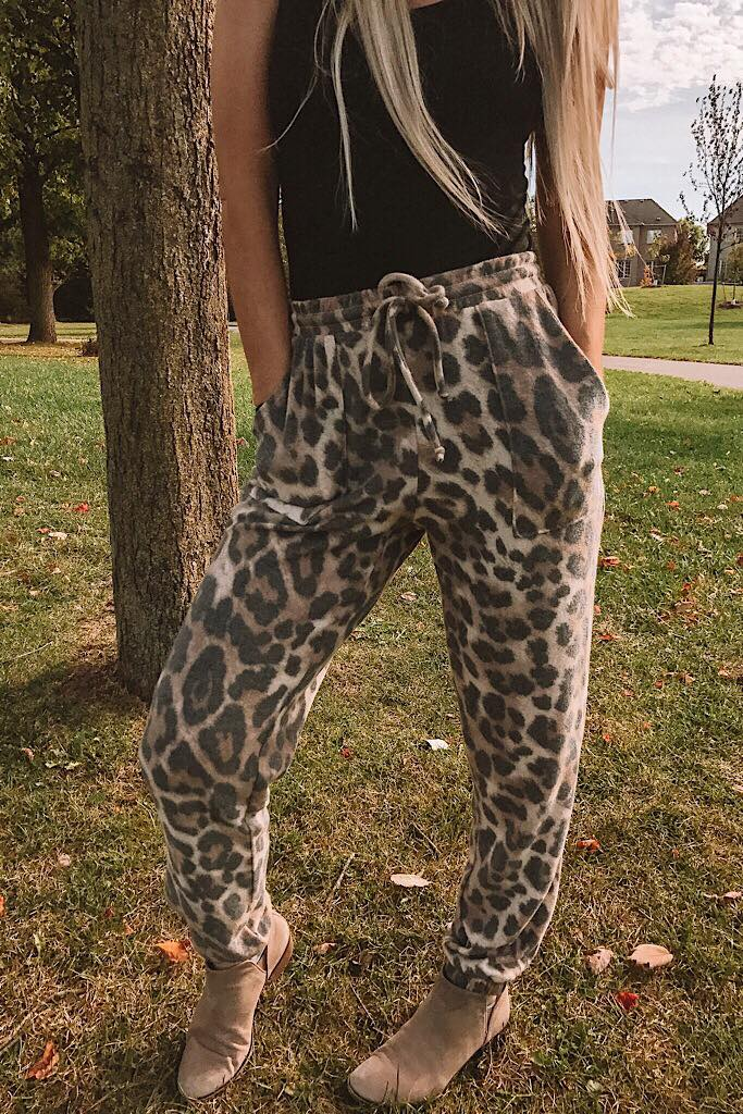 Leopard Soft Brushed Joggers- Restocking
