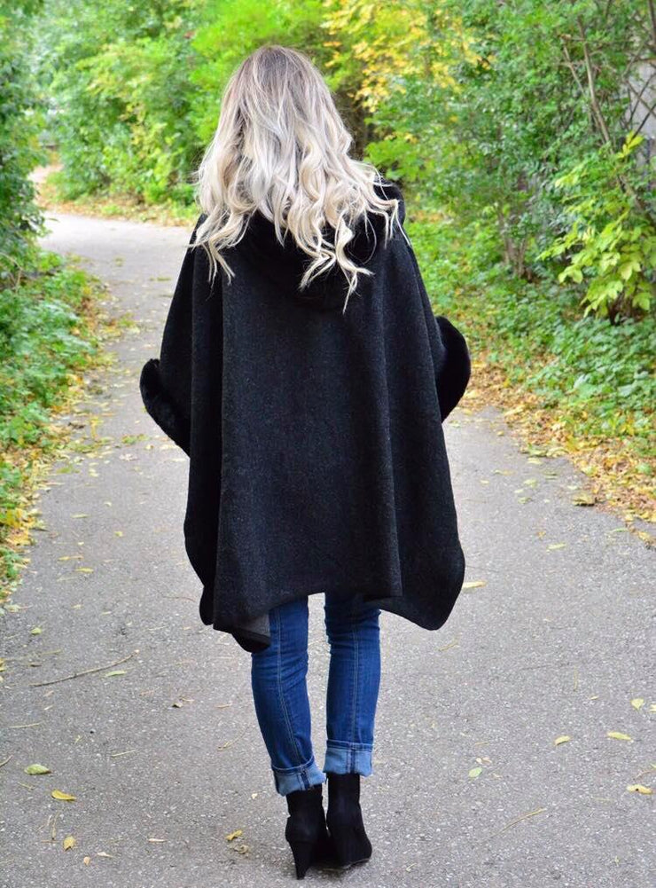Lady Carrie Faux Fur Coat In Charcoal- It's Back