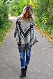 Boho Fringe Poncho With Sleeves- Coming Back
