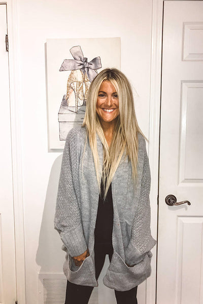 Grey Chunky Pocket knit Cardigan