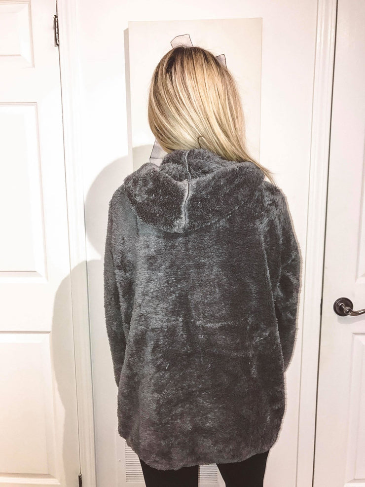 Cozy Teddy Charcoal Sweater