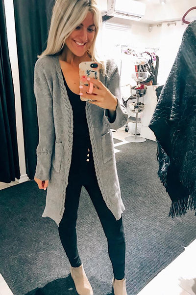 Grey Braided Sweater
