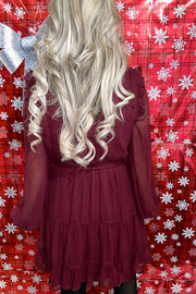 Elegant Mock Neck Burgundy Red Holiday Dress