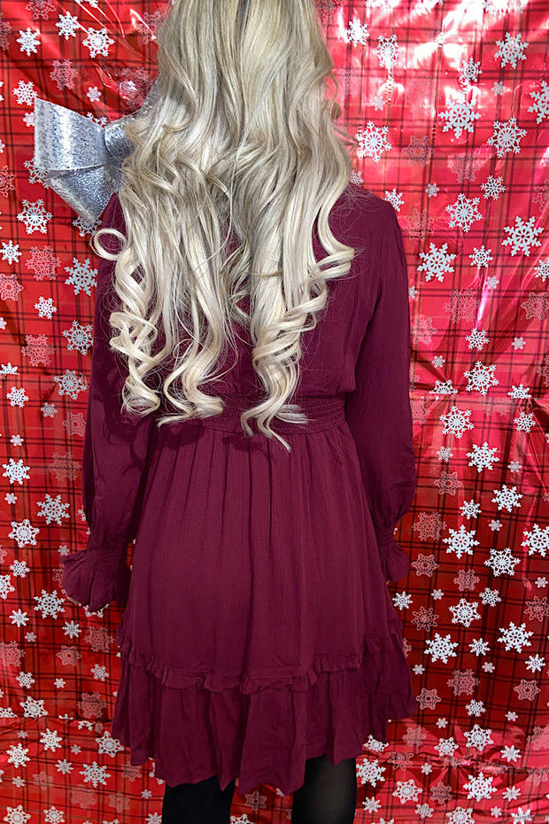 Burgundy Red Stunner Smocked Waistband Bow Dress