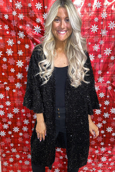 Holiday Black Sequin Kimonos