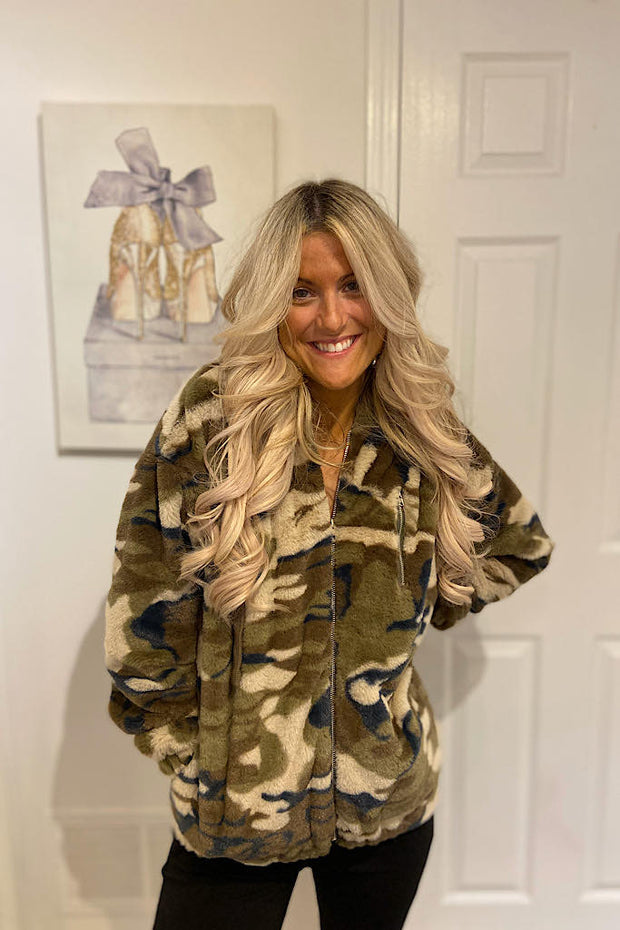 Super Soft Teddy Camo Sherpa