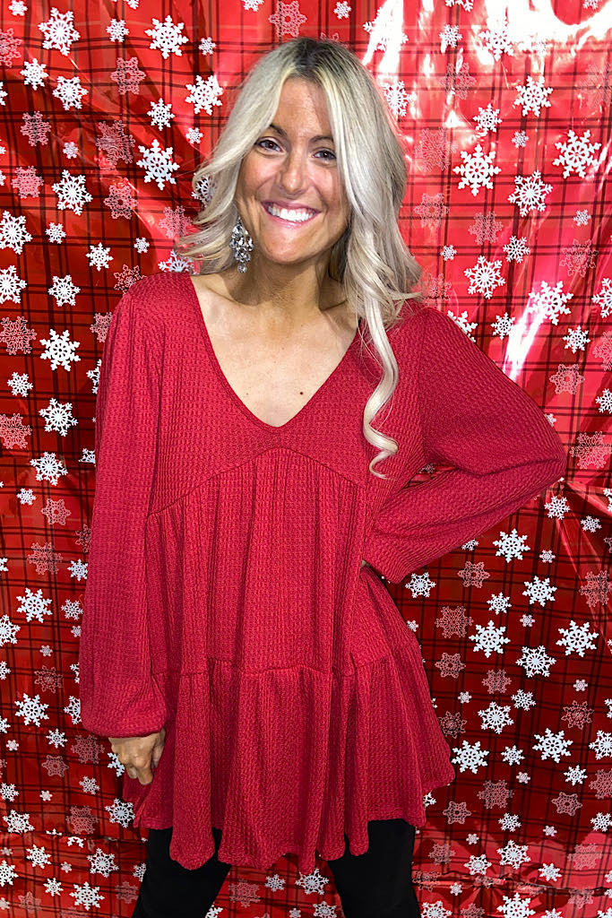 Red Boho Knit Waffle Top