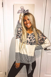 Pre Order Pink Animal Print Colourblock Top