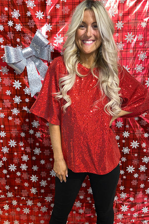 Red Candy Apple Sequin Top