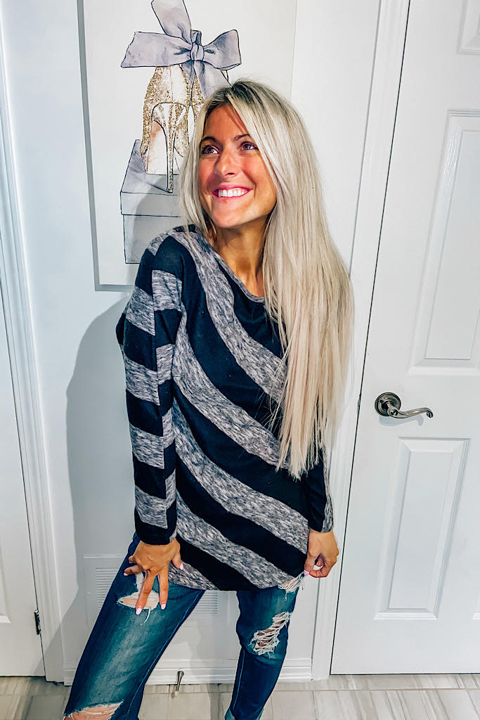 Soft Black and Grey Classic Striped Style Top