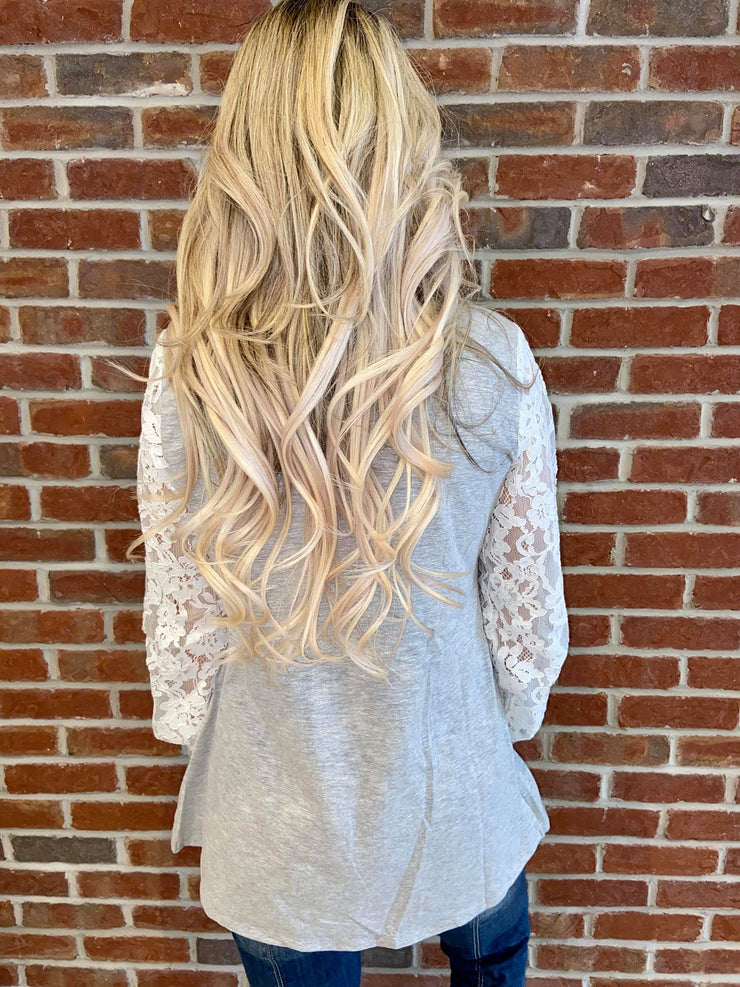 Pre Order Pretty Dressy Grey Lace Sleeve Sweater