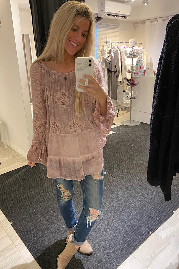 Pink Italian Sweater Blouse