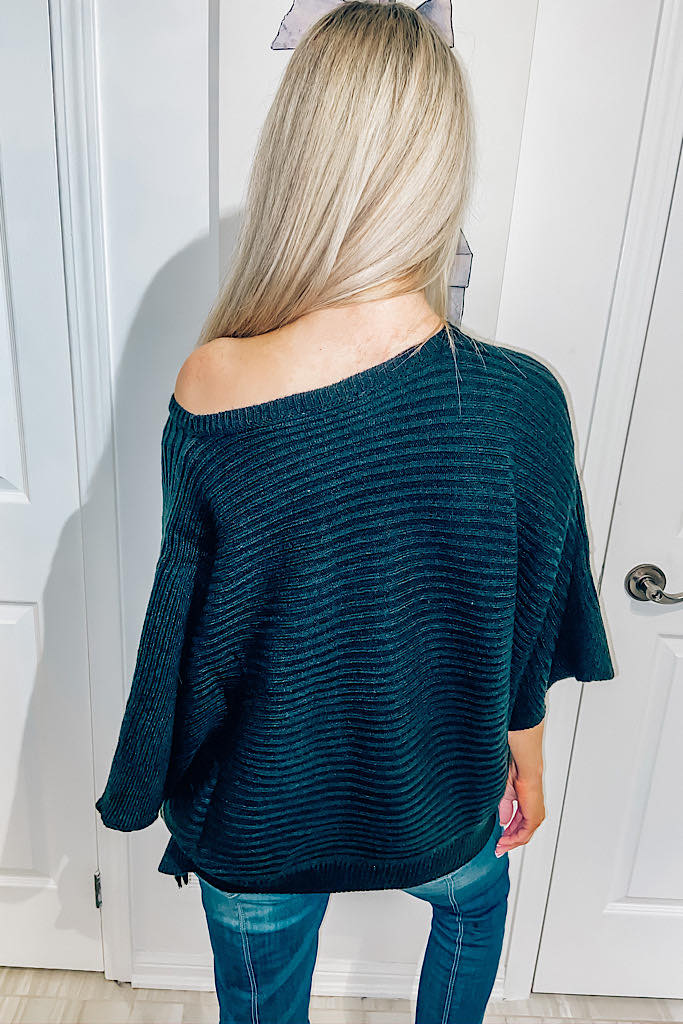 Black Ribbed Square Cut Sweater