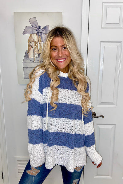 Blue And White Striped Popcorn Hoodie Sweater