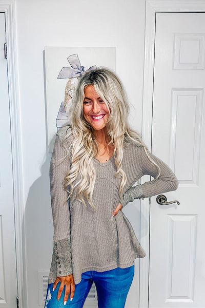 Dreams Come True Waffle Lace Top- Best Seller Now In Taupe