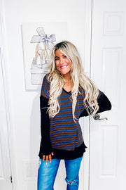 Fun Teal Striped Black Contrast Top
