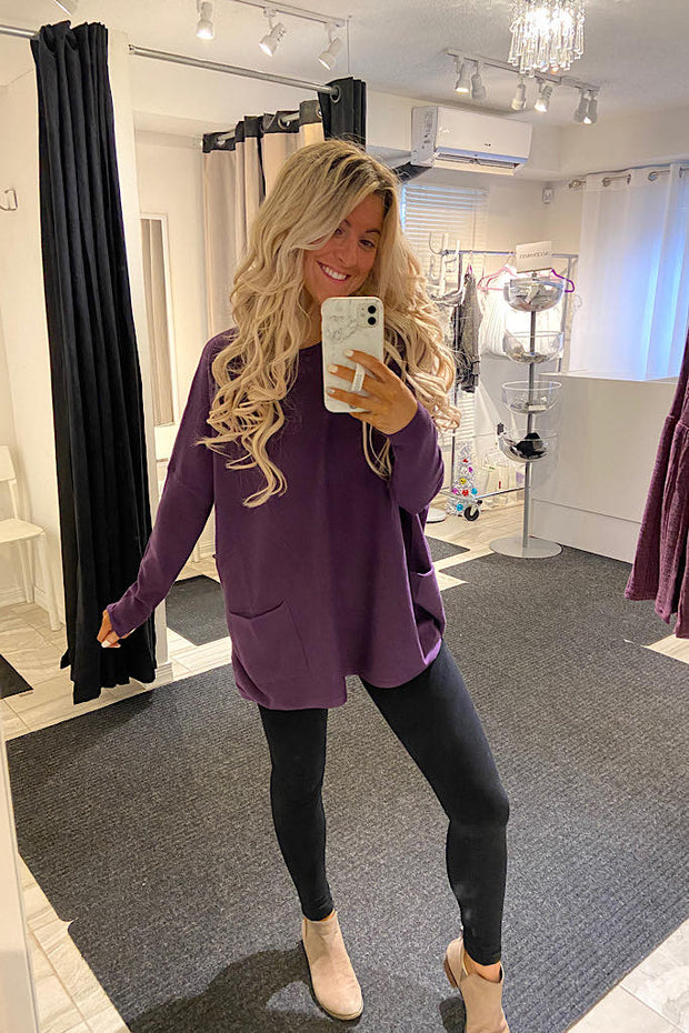 Deep Purple Loose Boho Style Lightweight Sweater