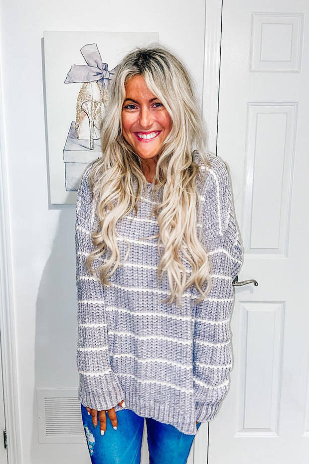 Gorgeous Chenille Striped Work Sweater