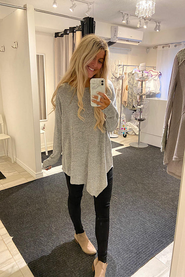 Beautiful Inside Out Design Long Tunic- Heather Grey