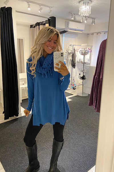 Blue Cashmere Feel Tunic With Scarf