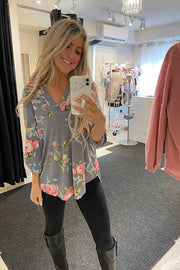 This Stunning Grey Floral Pattern Blouse- 2 Colours