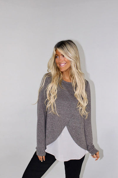 Down To Business Dressy Charcoal Top