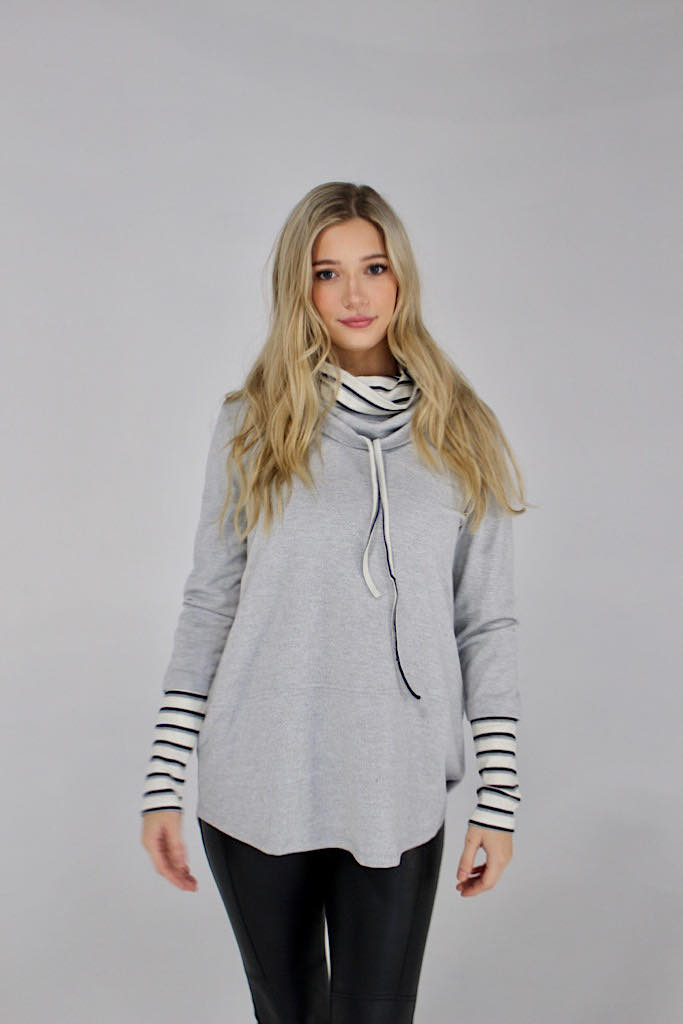 Heather Grey Double Cowl Neck Sweater