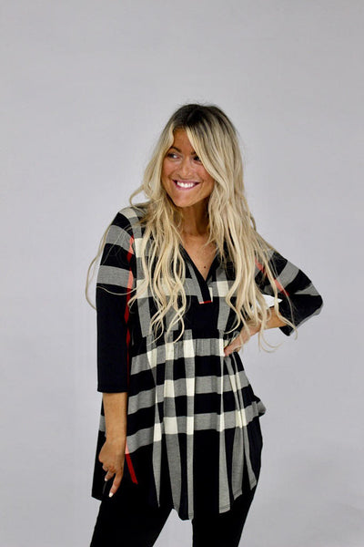 Black Plaid Babydoll Shirt