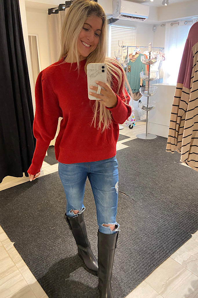 Red Soft Valentine's Day Sweater-Promo