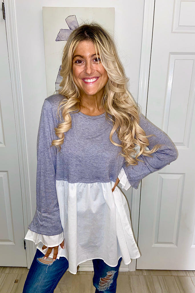 Cashmere Feel Grey Long Sleeve Babydoll Contrast Tunic-Promo Line