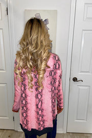 Pink Snakeskin Print Long Sleeve Tunic