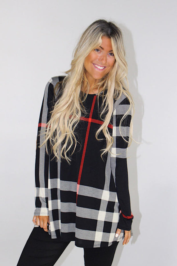 Black Plaid Button Back Elbow Patch Top