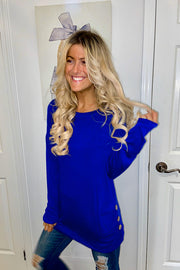 Royal Blue Long Sleeve Tunic Top With Side Button Trim- Promo Line