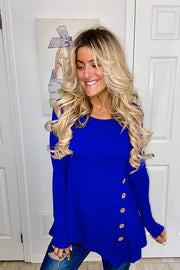 Royal Blue Long Sleeve Button Trim Asymmetrical Hem To-Promo Line