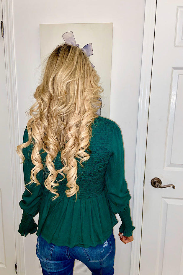 Hunter Green Smocked Peplum Blouse