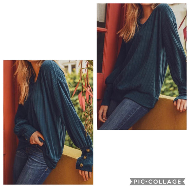 Teal Ribbed V Neck Button Detail Top