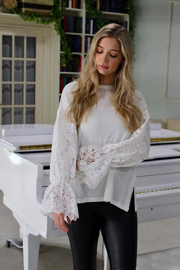 Pretty in Lace White Sweater