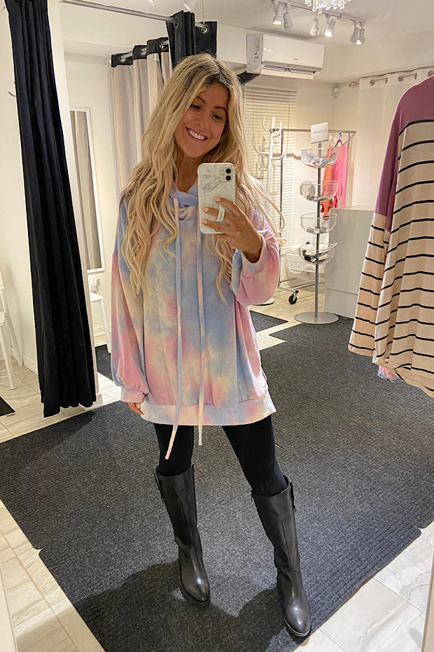Tie Dye Love Cowl Neck Top