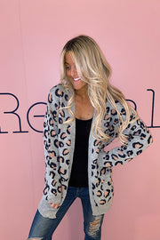 Leopard Blue Grey Open Front Cardigan