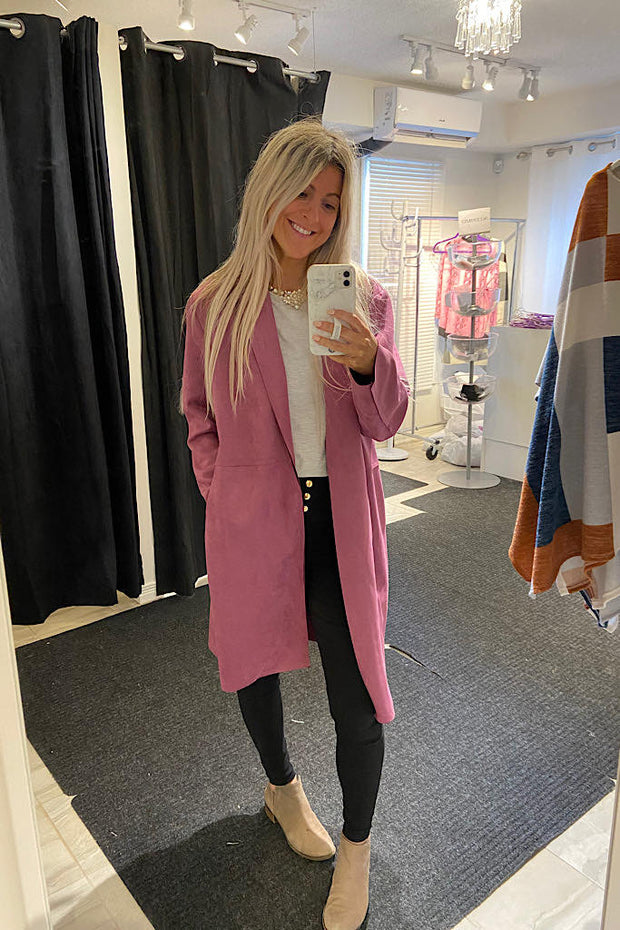 Italian Spring Coat-Pink/Purple Shade