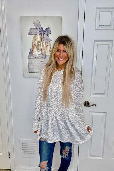 Unique Off White Animal Print Hooded Peplum