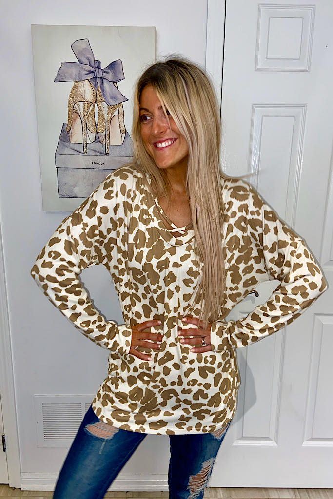 Soft Cream Sia Criss Cross Animal Print Top
