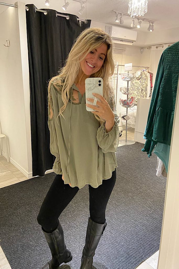Olive Green Lace Blouse