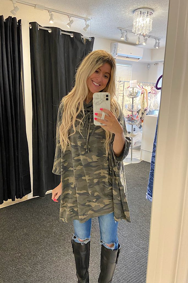 Camo Over Here Poncho Top