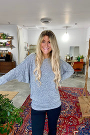 Soft Dolman Long Sleeve 2 in 1 Tops- Heather Grey