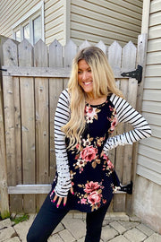 Black Floral Baseball Top With Lace