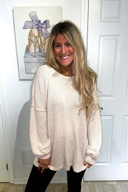 Nude Waffle Spring Sweater Bow Back