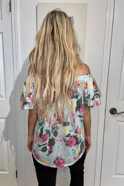 Mint Floral Off The Shoulder Top