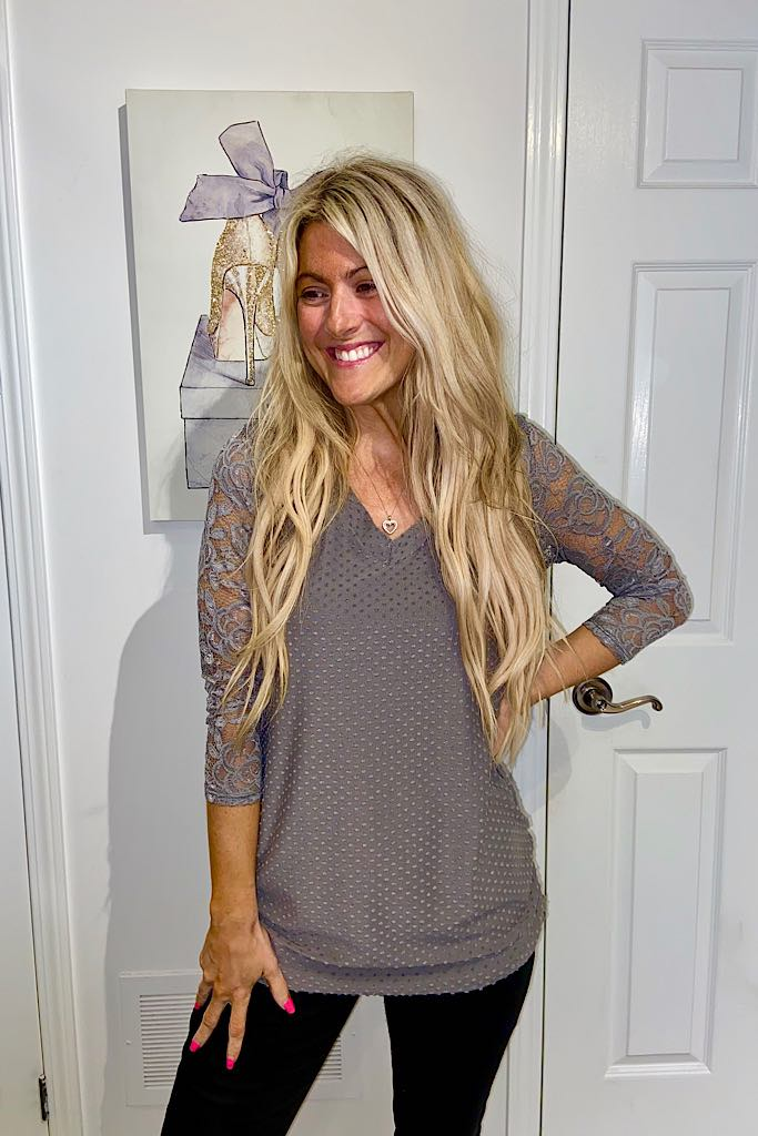 Grey Lace Swiss Dotted Top