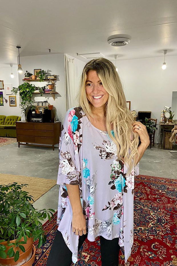 Floral Love Poncho Top-Lavender